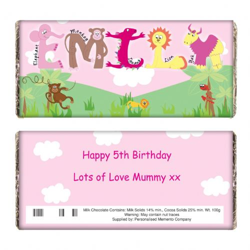 Personalised Girls Animal Alphabet Chocolate Bar
